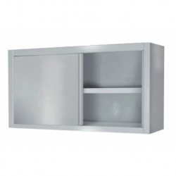 Wall element with plate rack and sliding doors