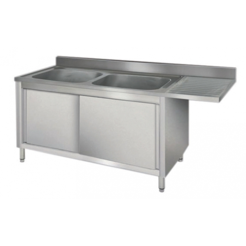 Dishwasher cleaning sinks on cabinet