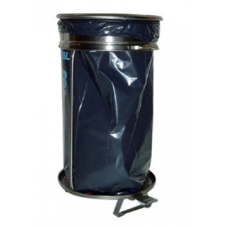 Round pedal-operated waste bin with removable lid
