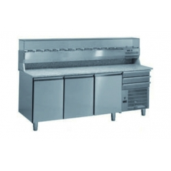Ventilated negative refrigerated pizza prep worktables economical range - 400 x 600 - prof 800