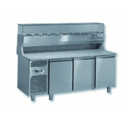 Ventilated negative refrigerated pizza prep worktable - 400 x 600 - depth 800