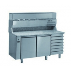 Ventilated positive refregerated pizza prep worktable 400 x 600 - prof 800 - without generator